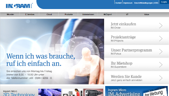 Ingram Micro Webseite